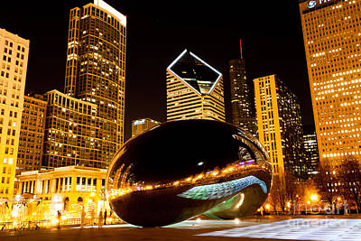 Stone Buildings Photograph - Chicago Bean Cloud Gate At Night by Paul Velgos