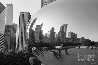 Photograph - Chicago Bean Reflection Grayscale by Jennifer White