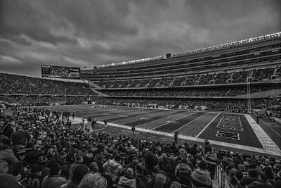 Photograph - Chicago Bears Black White 7858 by David Haskett II