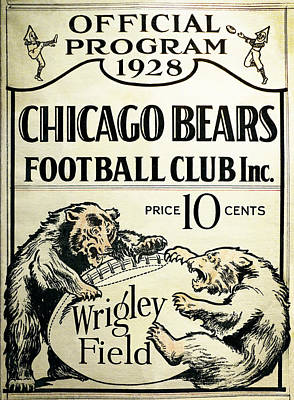 Sports Photograph - Chicago Bears Football Club Program Cover 1928 by Daniel Hagerman