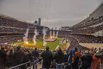 Photograph - Chicago Bears Soldier Field National Anthem 7745 by David Haskett