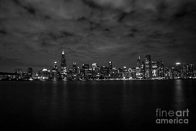 Nikki Vig Royalty-Free and Rights-Managed Images - Chicago Black and White at Night by Nikki Vig