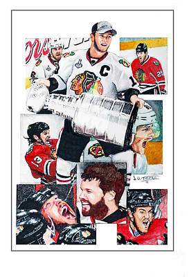 Chicago Blackhawks Drawing - Chicago Blackhawks 2013 Faces Of Victory by Jerry Tibstra