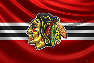 Art Of Hockey Digital Art - Chicago Blackhawks - 3 D Badge Over Silk Flag by Serge Averbukh