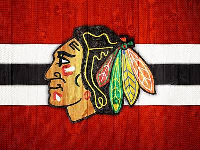 Celebrities Digital Art - Chicago Blackhawks Barn Door by Dan Sproul