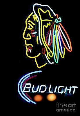 Photograph - Chicago Blackhawks - Neon by David Bearden