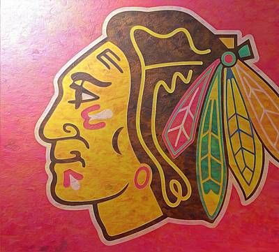 Champion Mixed Media - Chicago Blackhawks On Rusted Metal by Dan Sproul