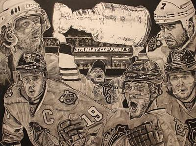 Chicago Blackhawks Drawing - Chicago Blackhawks Victory by Brian Sanford