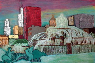 Magnificent Mile Painting - Chicago Buckingham Fountain by Char Swift