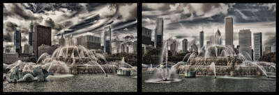 Turn-of-the-century Mixed Media - Chicago Buckingham Fountain Summer Storm Passing Multi Panel by Thomas Woolworth