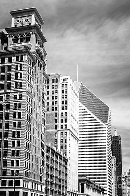 Communication Photograph - Chicago Buildings Black And White Photo by Paul Velgos