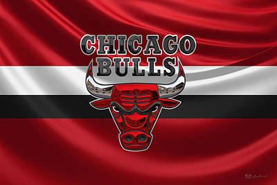 Chicago Bulls - 3 D Badge Over Flag Art Print by Serge Averbukh
