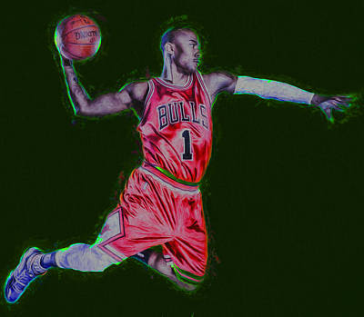Chicago Bulls Derrick Rose Painted Digitally Red Print by David Haskett