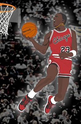 Chicago Bulls - Michael Jordan - 1985 Art Print by Troy Arthur Graphics