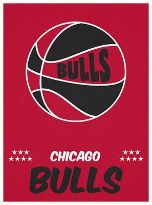 Bull Mixed Media - Chicago Bulls Vintage Basketball Art by Joe Hamilton
