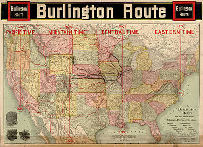 Painting - Chicago, Burlington Route System Map, 1892. by Celestial Images