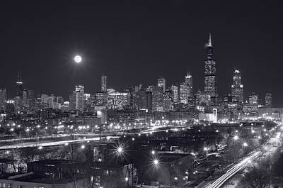 Moon Photograph - Chicago By Night by Steve Gadomski