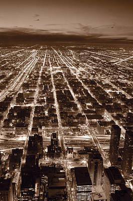 Chicago City Lights West B W Art Print by Steve Gadomski