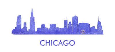 I Love America Digital Art - Chicago City Purple Skyline. by Vyacheslav Isaev