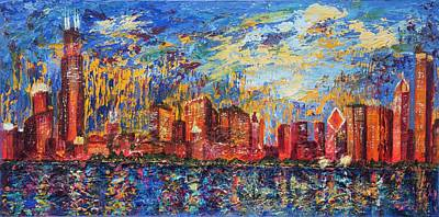Painting - Chicago City Scape by Tracie L Hawkins
