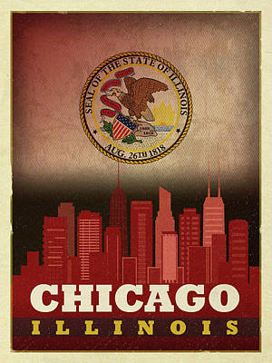 City Skyline Mixed Media - Chicago City Skyline State Flag Of Illinois Art Poster Series 012 by Design Turnpike