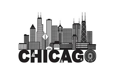 Photograph - Chicago City Skyline Text Black And White Illustration by Jit Lim