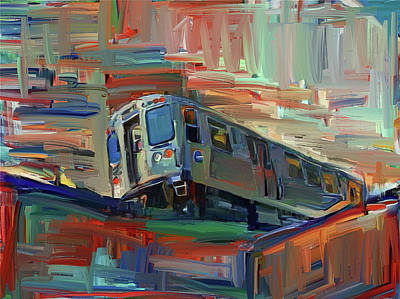 Digital Art - Chicago City Train by Yury Malkov