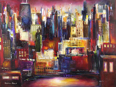Chicago At Night Painting - Chicago City View by Kathleen Patrick