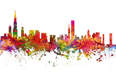 Cities Drawings - Chicago Cityscape 08 by Aged Pixel
