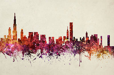 Skylines Drawings - Chicago Cityscape 09 by Aged Pixel