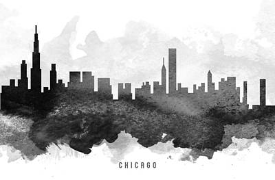 Towns Digital Art - Chicago Cityscape 11 by Aged Pixel