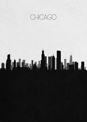 Drawing - Chicago Cityscape Art by Inspirowl Design