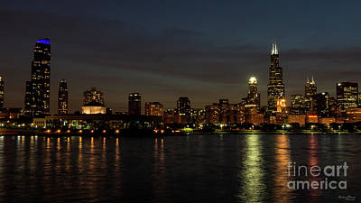 Photograph - Chicago Cityscape Night by Jennifer White