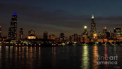 Photograph - Chicago Cityscape Night by Jennifer White