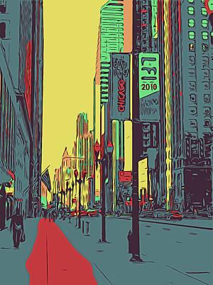 Digital Art - Chicago Color Street 7 by Yury Malkov