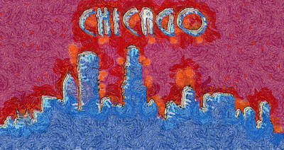 State Love Nancy Ingersoll - Chicago Colorful Skyline by Dan Sproul