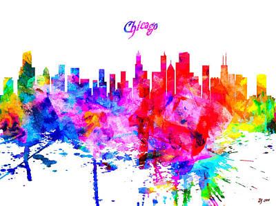 Chicago Skyline Mixed Media - Chicago Colorful Skyline by Daniel Janda