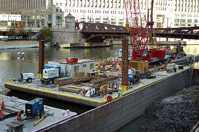 Artist Working Photograph - Chicago Construction Barge Pa by Thomas Woolworth