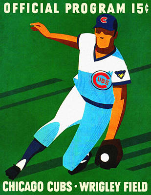 Chicago Cubs Field Painting - Chicago Cubs 1972 Official Program by Big 88 Artworks