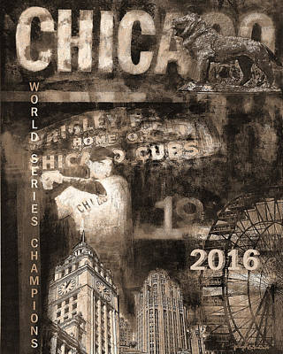 Cubs Painting - Chicago Cubs 2016 World Series Champions In Sepi by Joseph Catanzaro