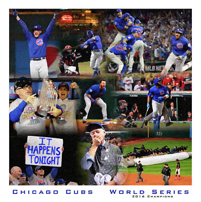 Chicago Wrigley Field Painting - Chicago Cubs 2016 World Series Champions by John Farr