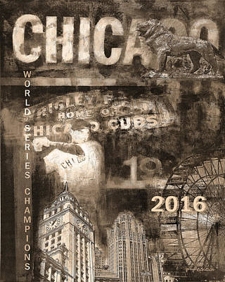 Wrigley Field Painting - Chicago Cubs - 2016 World Series by Joseph Catanzaro