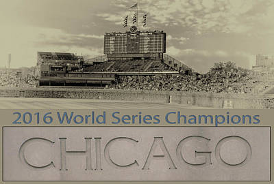 Ron Woods Mixed Media - Chicago Cubs 2016 World Series Scoreboard by Thomas Woolworth