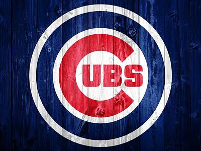City Scenes Mixed Media - Chicago Cubs Barn Door by Dan Sproul