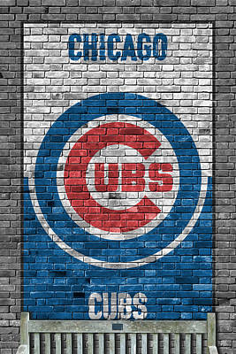 Baseball Painting - Chicago Cubs Brick Wall by Joe Hamilton