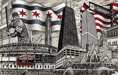 Drawing - Chicago Cubs, Ernie Banks, Wrigley Field by Omoro Rahim