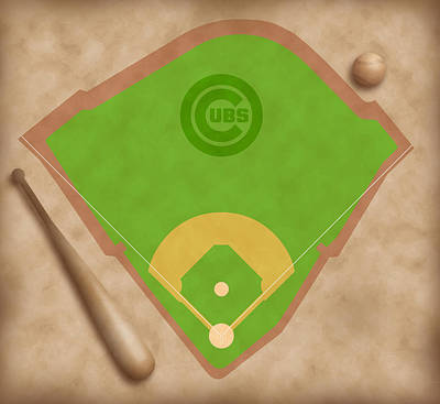Second Base Digital Art - Chicago Cubs Field by Carl Scallop