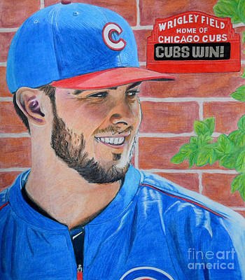 Drawing - Chicago Cubs Kris Bryant Portrait by Melissa Goodrich