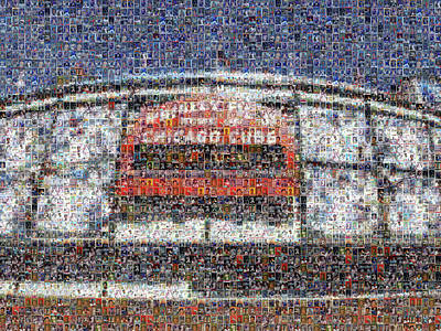Chicago Cubs Digital Art - Chicago Cubs Mosiac Art Print Of Wrigley Field Made Of Cub Player Card Images. by Steve Davey