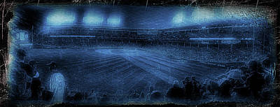 Mixed Media - Chicago Cubs Night Game October 8th 2016 Blue by Thomas Woolworth